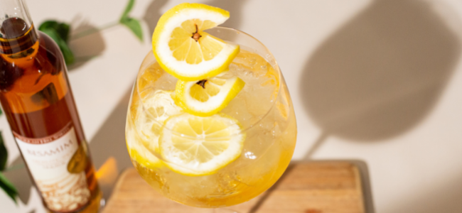 This Summer Spritz has notes of baking spice and vanilla, making it the perfect pair for a dessert charcuterie board!