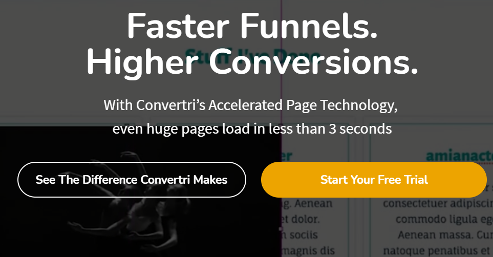 Screenshot of convertri's homepage is part of the Clickfunnels alternatives review article.