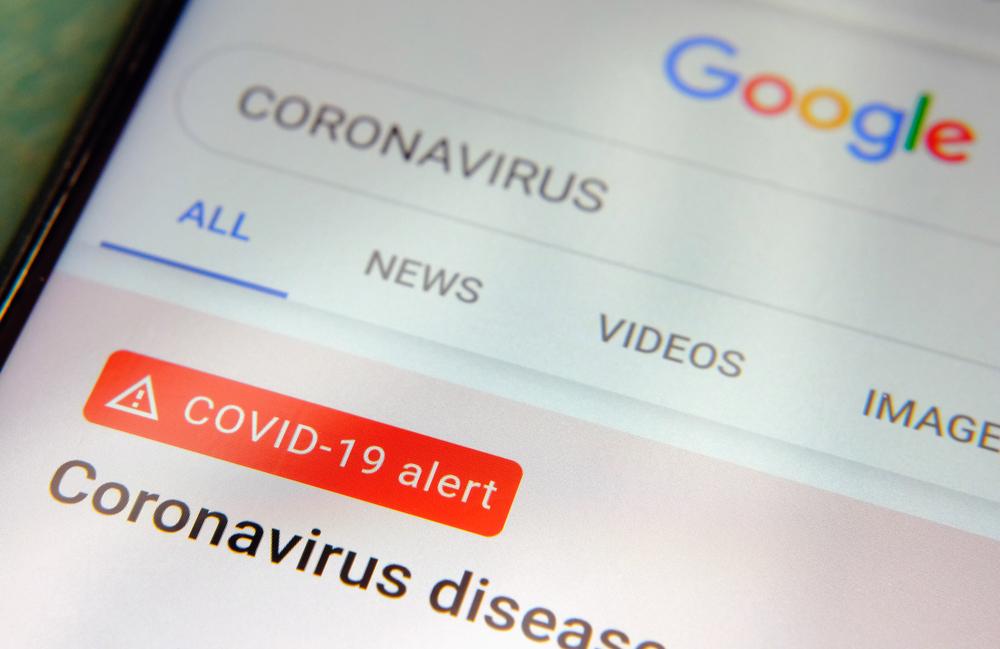 "Página do google com pesquisa ""coronavírus"""