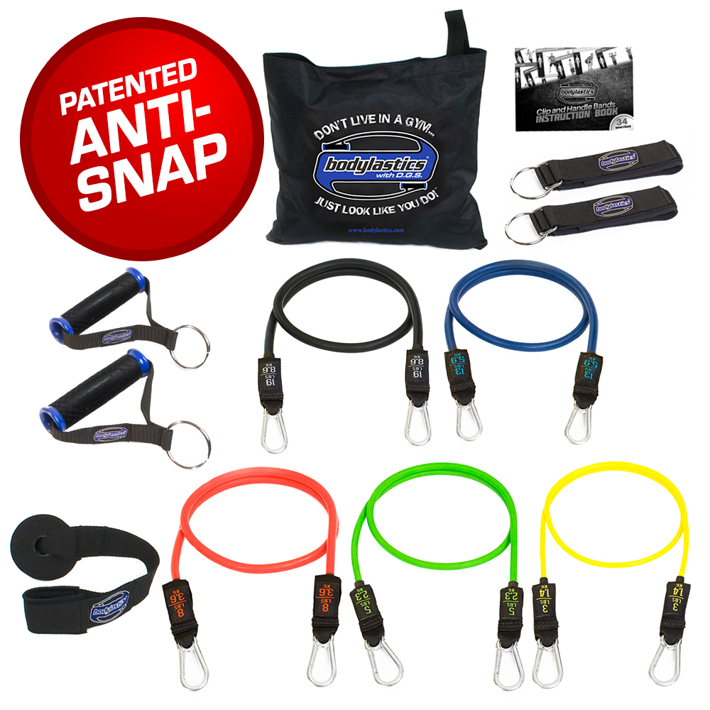 Bodylastics Resistance Bands Set with Patented Anti-Snap Elastics for those who need something durable and reliable with patented anti-snap safety design that helps keep you safe