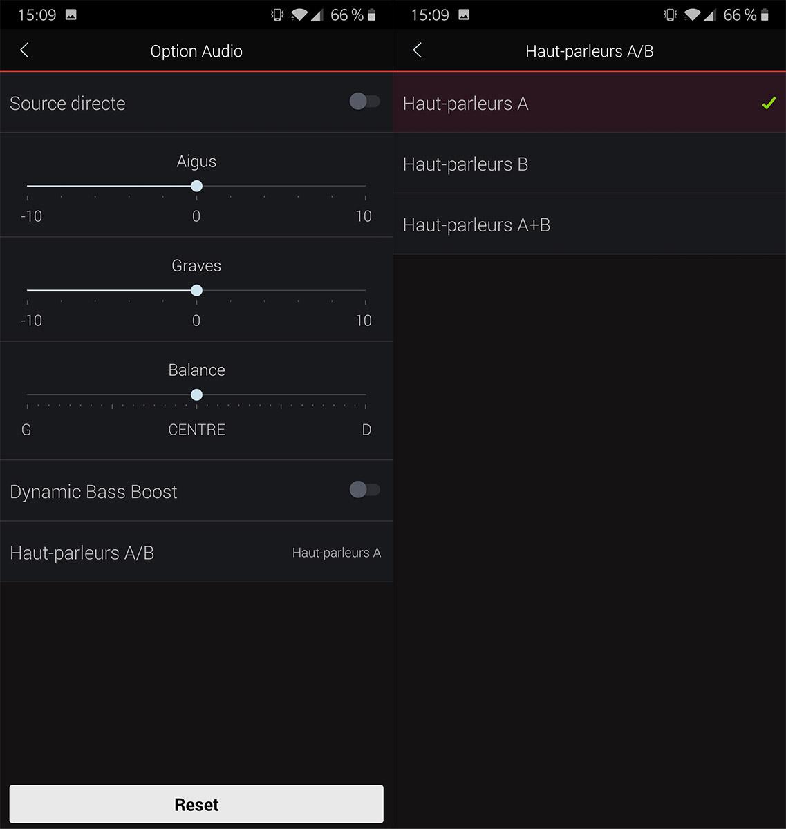 L'application Heos permet de choisir quelle paire d'enceintes écouter et de régler le volume séparément.