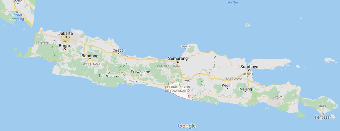 Map where Yogyakarta is in Indonesia