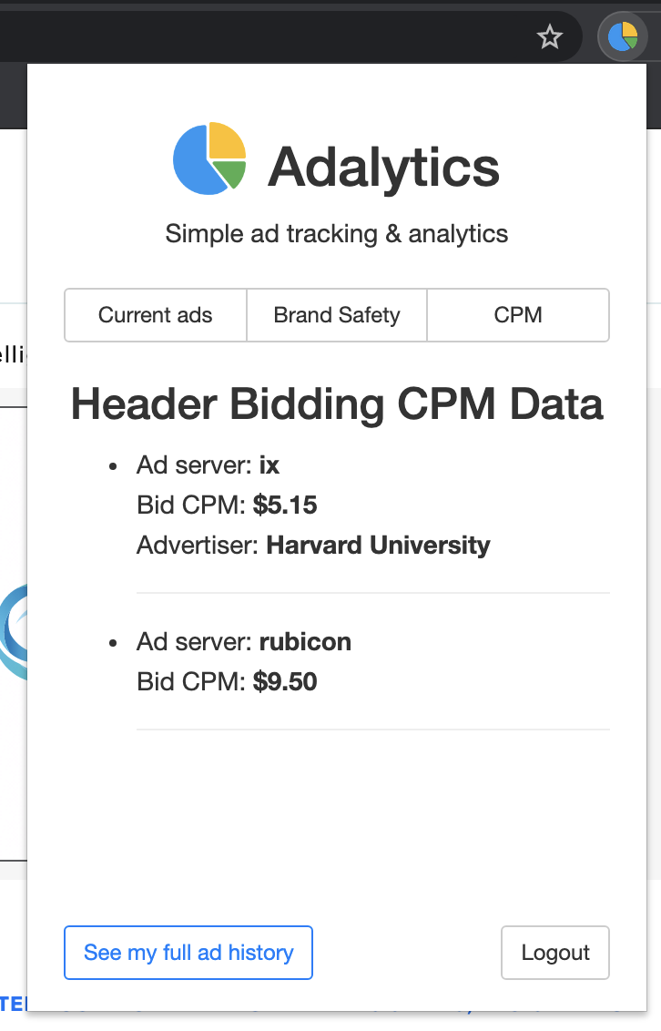 Screenshot of the Adalytics browser extension, showing CPM data on a specific website for Harvard Business School Online ads (among other ads).