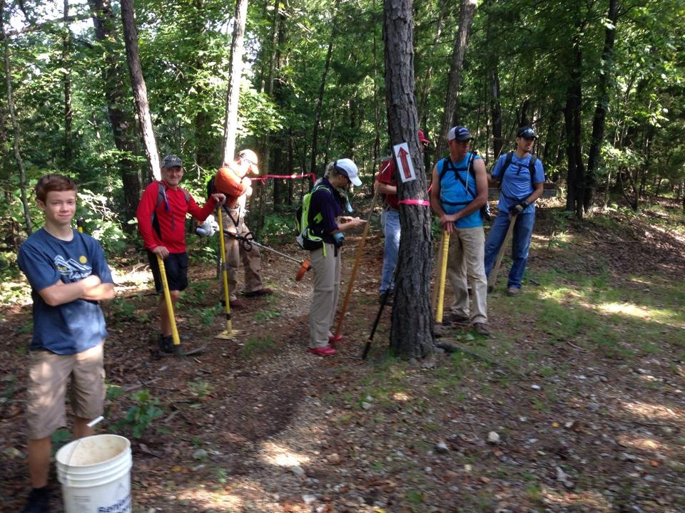 Here's a shot of the Lake Leatherwood volunteers who improved the trade on the lost ridge trail, weedeated the miners rock trail, and groomed the Hyde hollow trail in July.