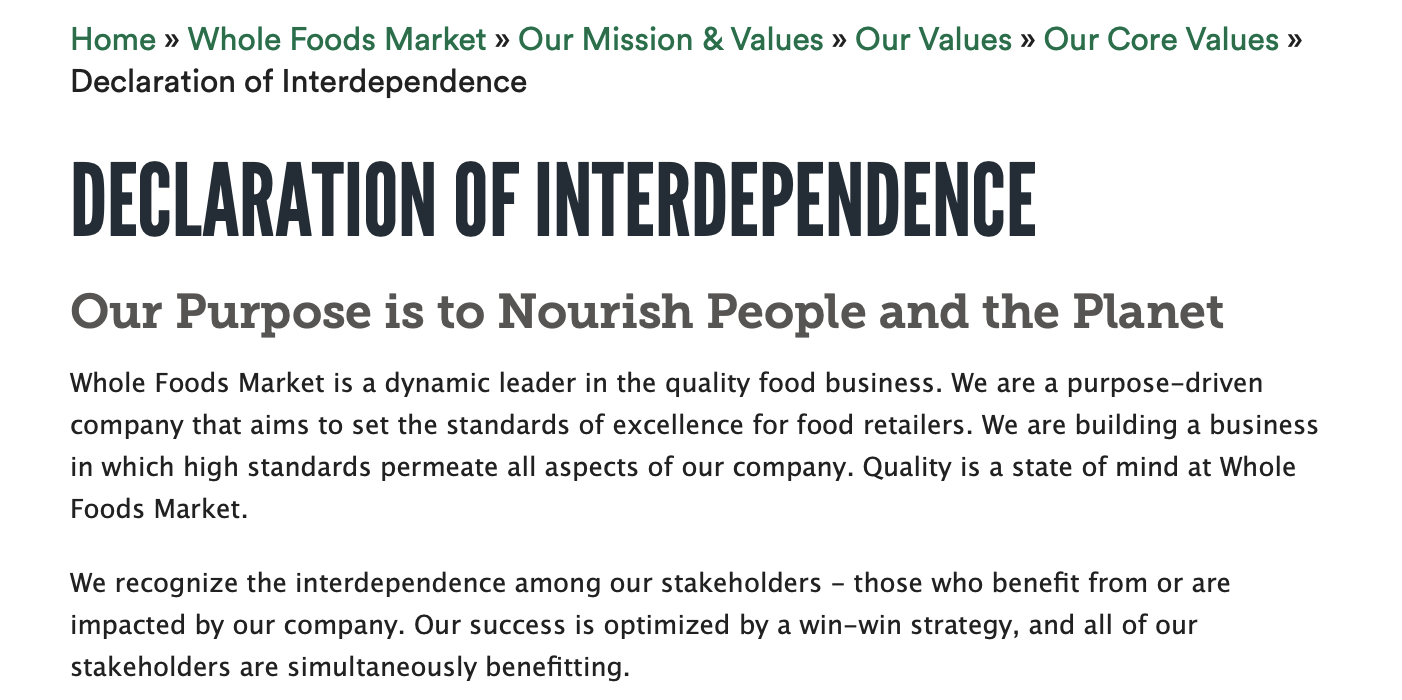 Whole Foods Customer Service Philosophy and Ideas Example