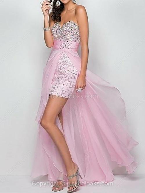 Chiffon Sweetheart asimmetrico guaina / colonna di cristallo Detailing Prom Dresses # PLS02111353