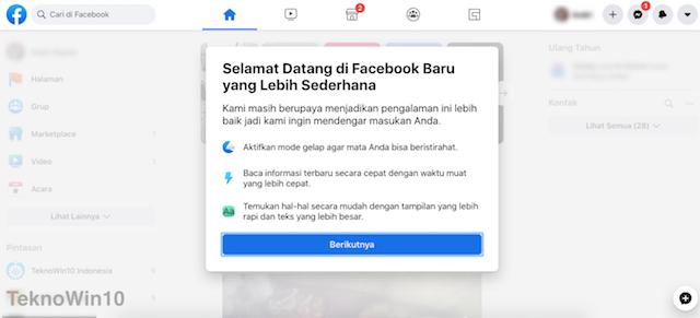 Halaman sambutan desain facebook baru
