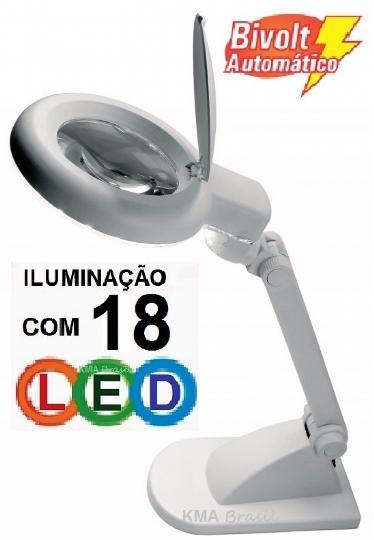 LUPA DE MESA COM ILUMINAÇÃO POR 18 LED -AUMENTA 3 VEZES ou 12 VEZES (BIFOCAL)- SOLVER HL-200