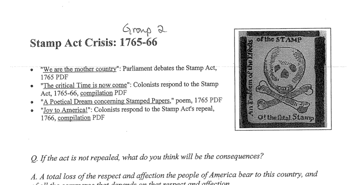 the impact of the stamp act The stamp act of 1765 was a law passed by parliament taxing all paper used for printed materials in the colonies the stamp act was passed on march 22, 1765 but it didn't take effect until november 1 of 1765.