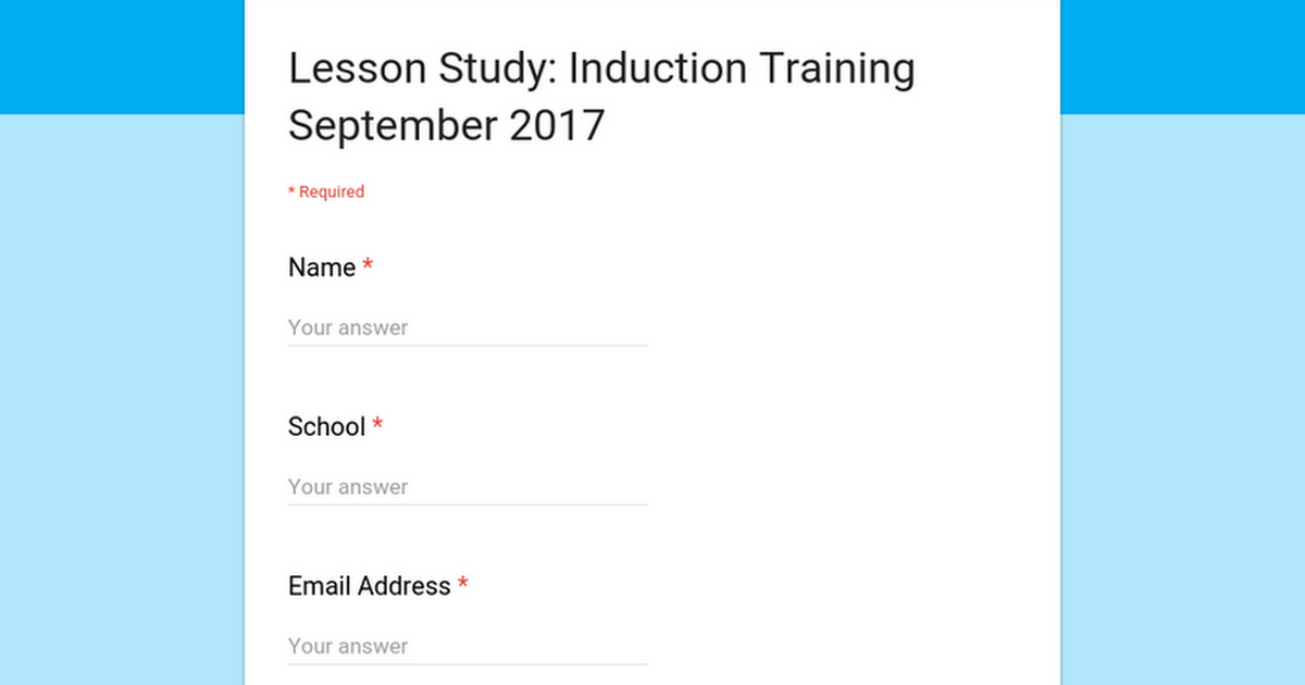 Lesson Study: Induction Training September 2017