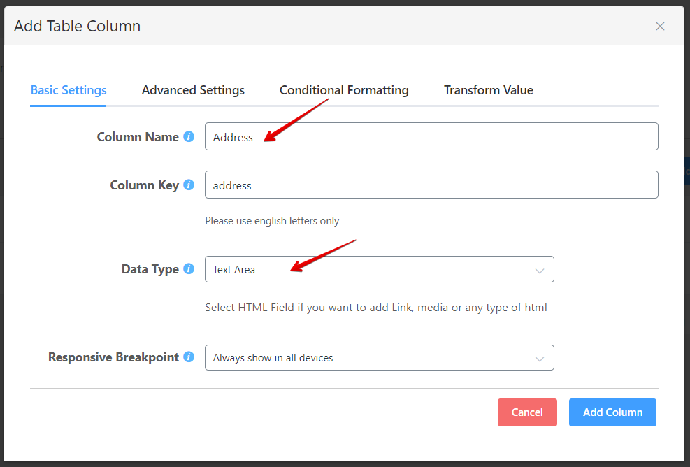 configure the data type by editing input fields