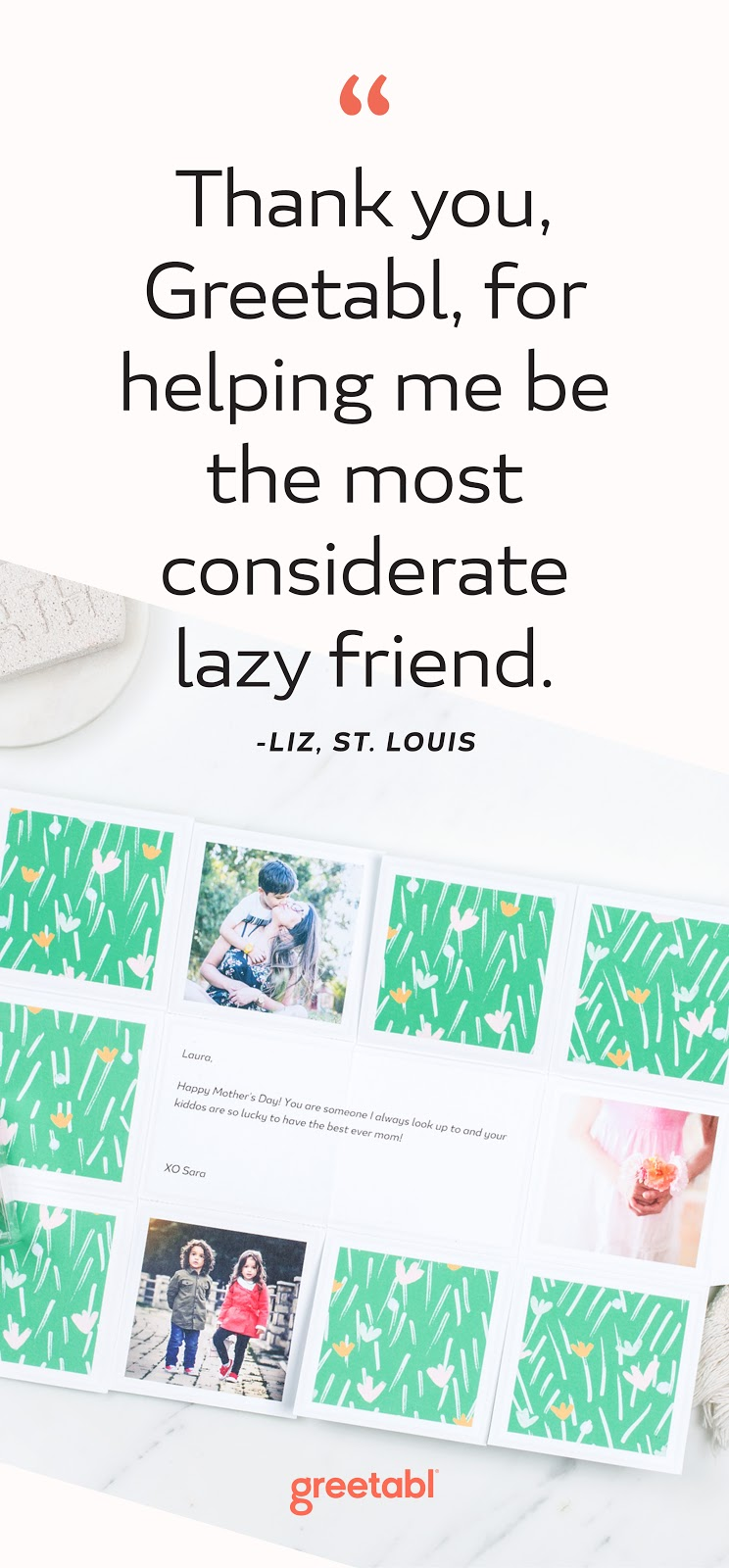 """Review that says, """"Thank you, Greetabl, for helping me be the most considerate lazy friend."""""""