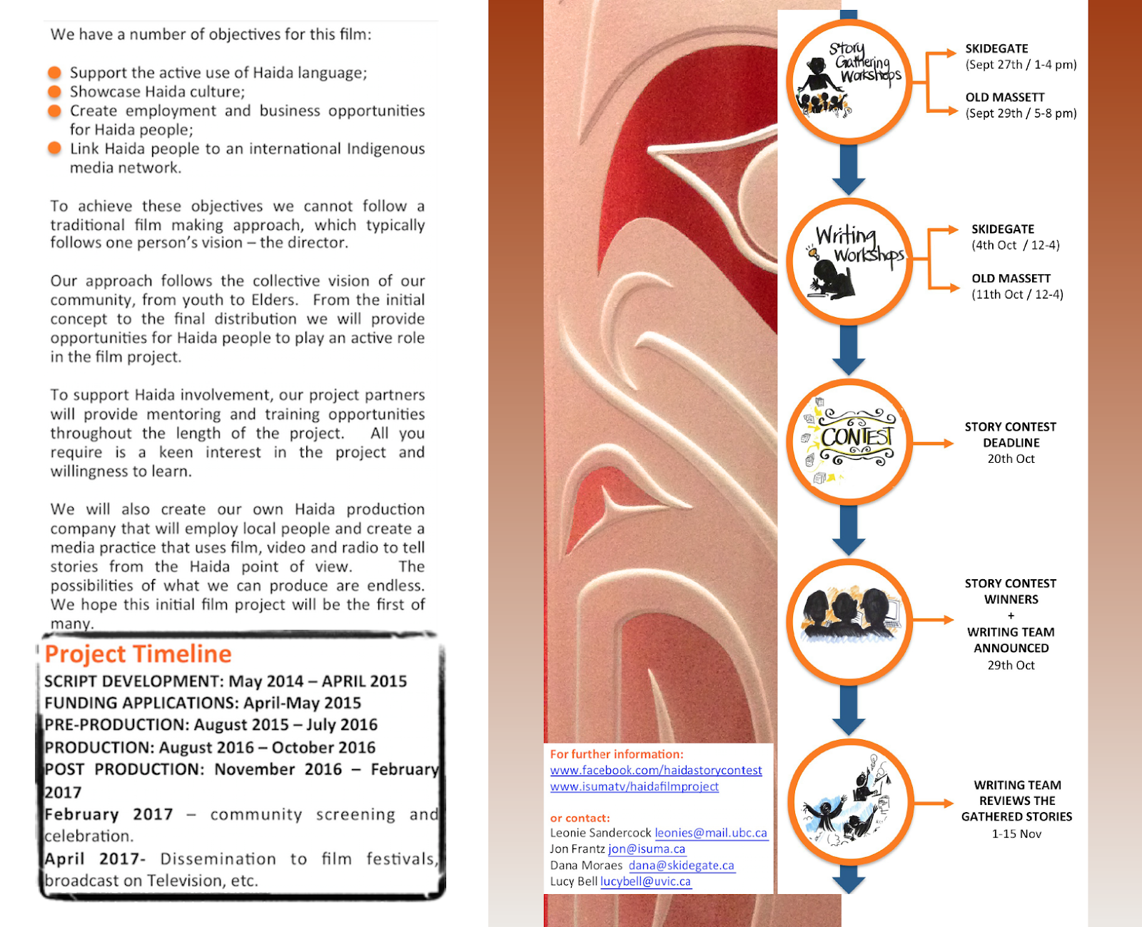 <p>Early flyer (2017) created by the three-way partnership to explain the <em>Edge of the Knife</em> project and process to Haida community members.</p>