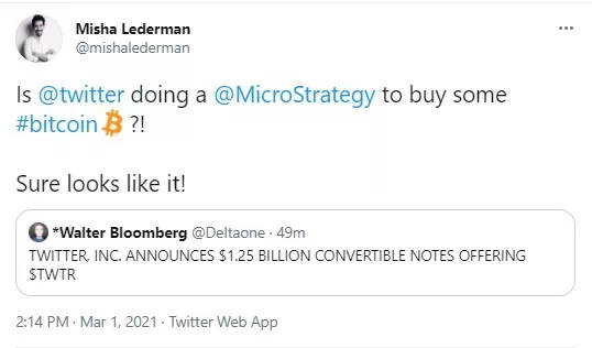 Twitter announces to raise $1.25 billion worth of convertible notes & community believes it may be for Bitcoin 1