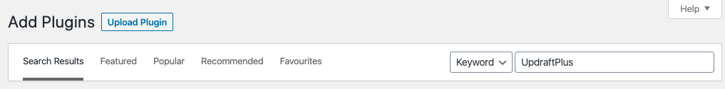 UpdraftPlus add plugin