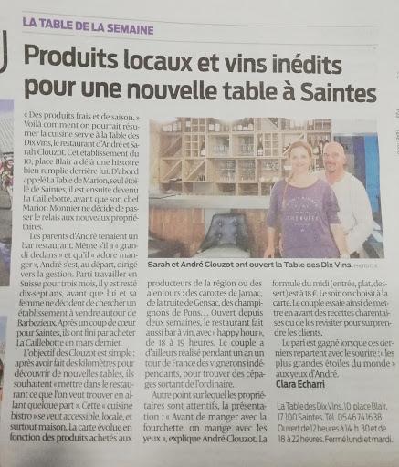 La Table Des Dix Vins Restaurant In Saintes