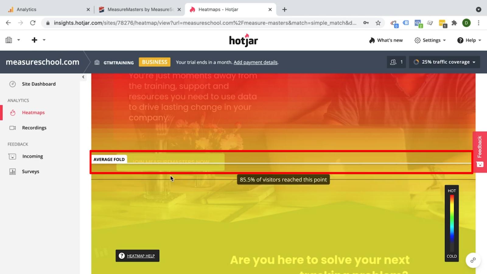 Hotjar - Heatmaps - Average Fold