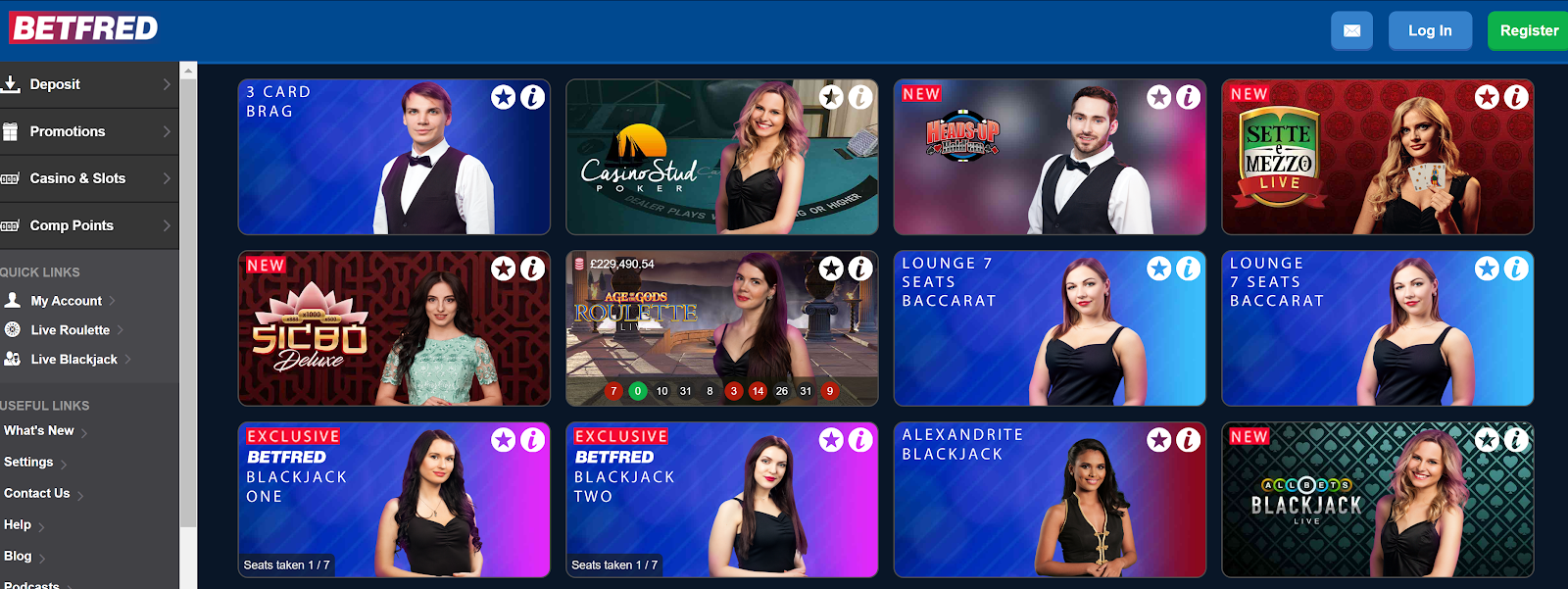 Betfred is an excellent site for live poker games