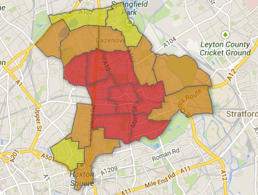 Unmarked choropleth map of Hackney Wards