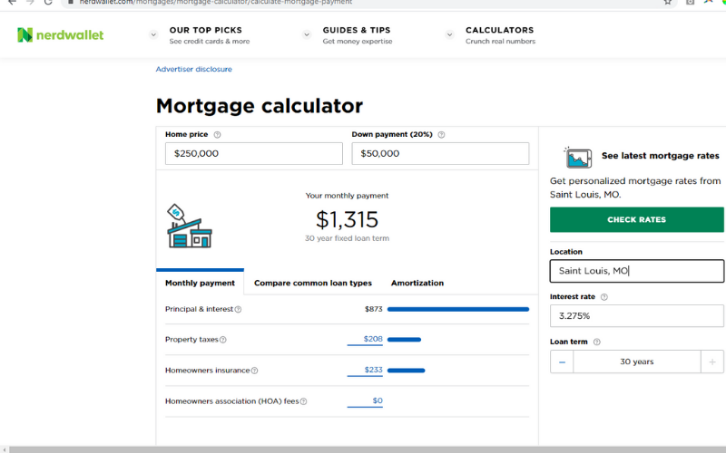 mortgage calculator from Nerdwallet
