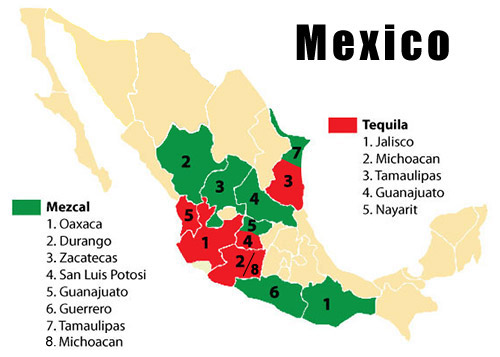 Mexico Map Tequila