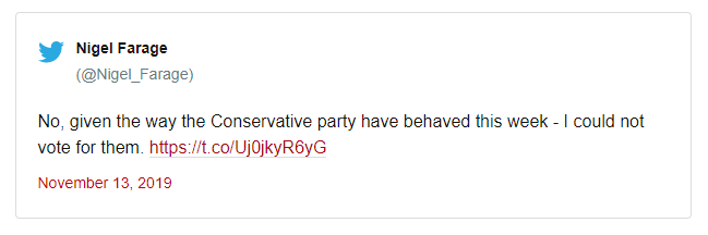 Dòng Tweet của Nigel Farage cho thấy quyết định của ông