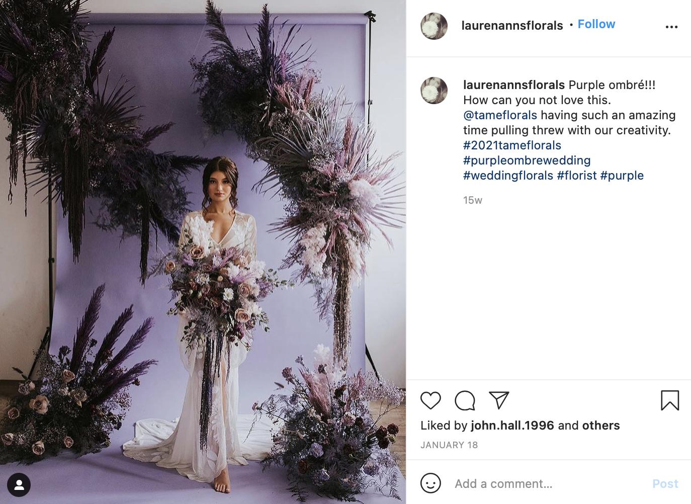 bridal portrait behind purple gradient backdrop