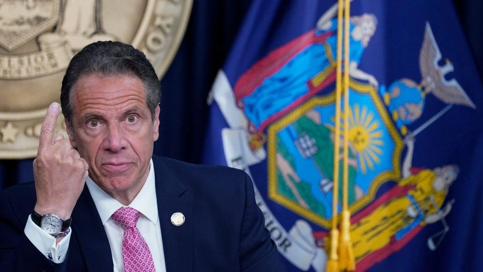 New York Gov. Andrew Cuomo speaks during a news conference on May 10, 2021 in New York City.