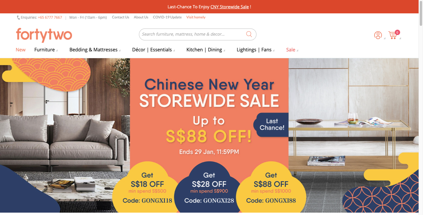 Forty Two ecommerce website design