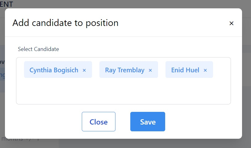 screenshot of the Martide website showing the candidates who are to be added to the recruitment.