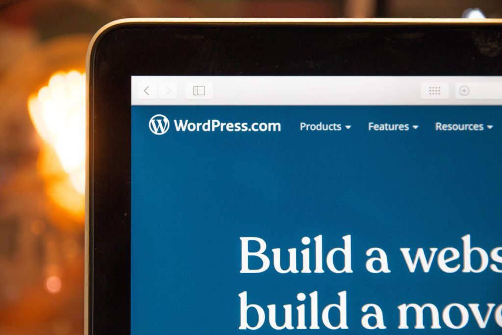 picture of monitor with wordpress build a website on it