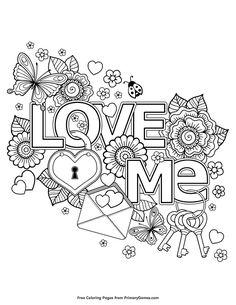 A valentine coloring page of love me