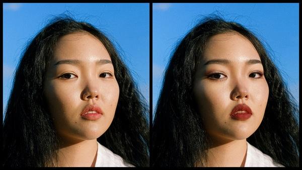 Antes e depois da foto de uma mulher asiática onde uma das fotos está com a maquiagem Sugarplum do AirBrush