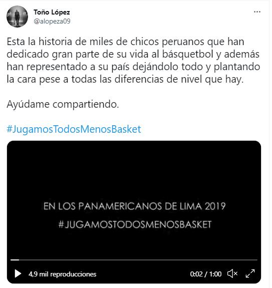 Los seleccionados del equipo nacional de básquetbol masculino y femenino decidieron emprender la campaña #JugamosTodosMenosBasquet durante los Juegos Panamericanos Lima 2019 (Imagen: Twitter - Toño López)