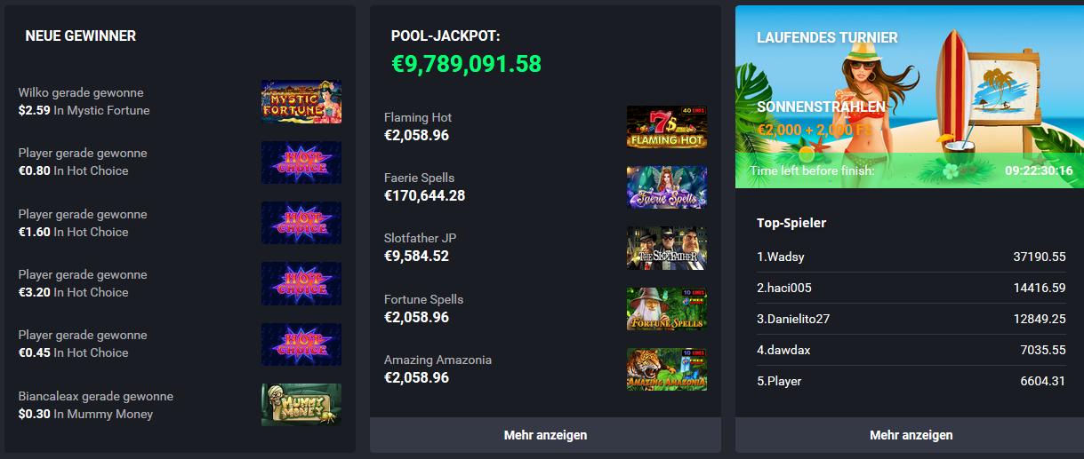 jackpots und gewinne bei joo casino