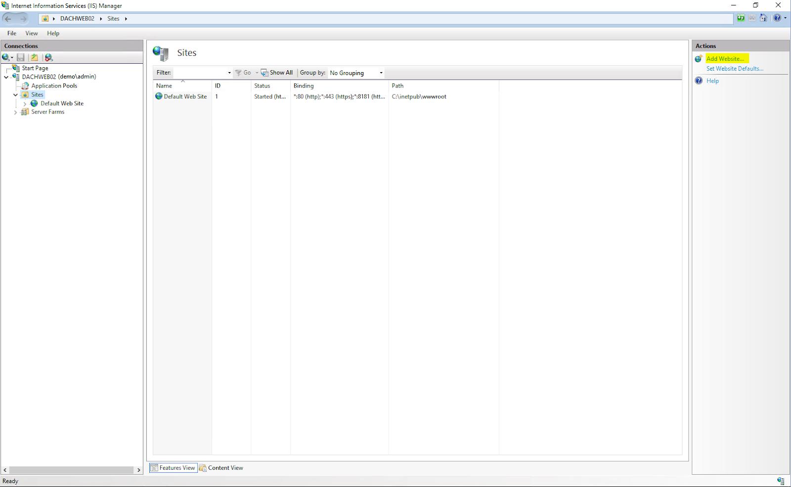 """IIS Dashboard mit der Action """"Add Website"""""""