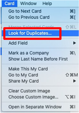 "Select the ""Look for Duplicates"" action"