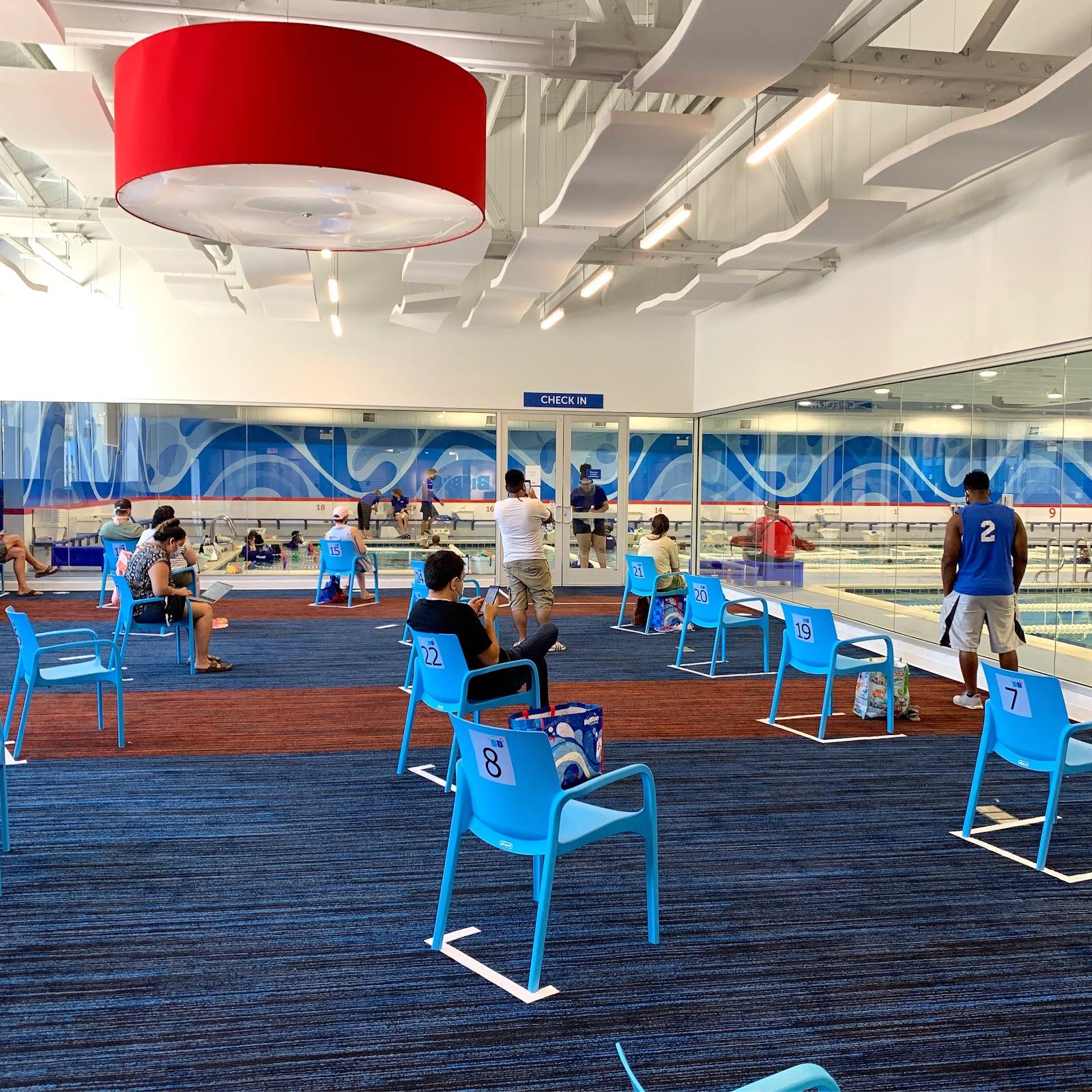Social Distancing in the Big Blue Swim School waiting area