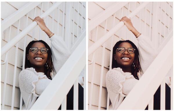 Duas fotos de uma mulher negra sentada na escada. Uma original e a outra com o efeito Equinox