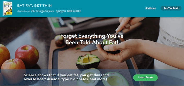 Eat Fat, Get Thin Landing Page Example