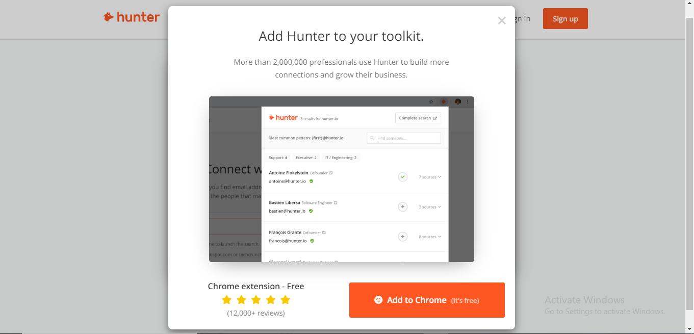 Hunter.IO get email address of websites