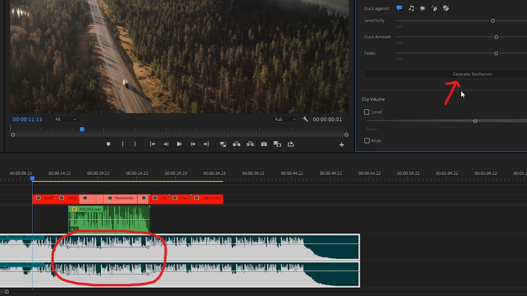 Premiere Pro - 'Essential Sound' feature will make keyframes to reduce volume