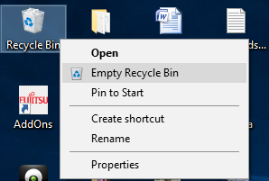 Empty Recycle Bin on your System