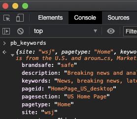 Screenshot of Chrome Developer Tools console logs on wsj.com
