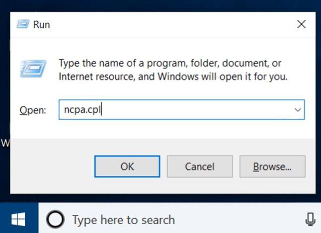 """Type """"ncpa.cpl"""" in the Run window"""