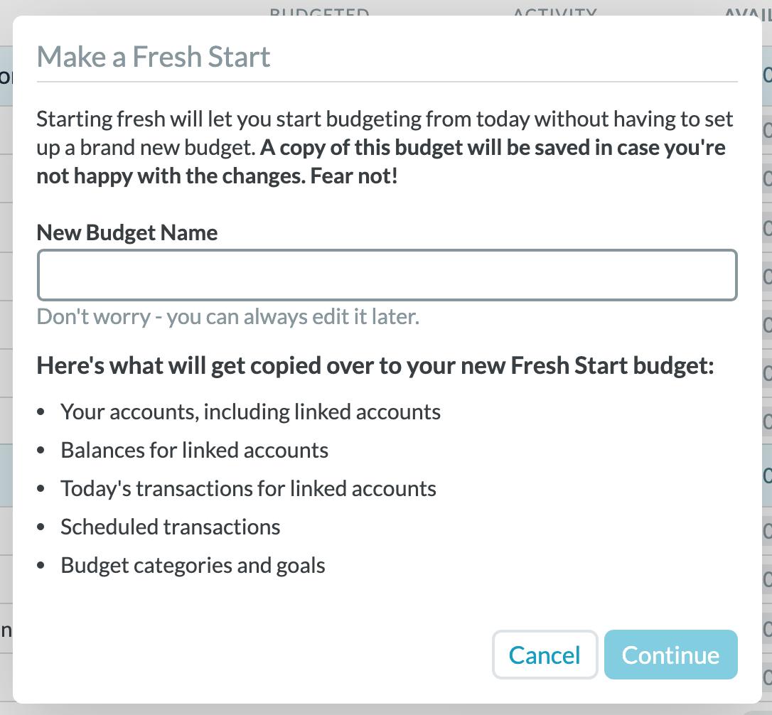 YNAB Fresh Start