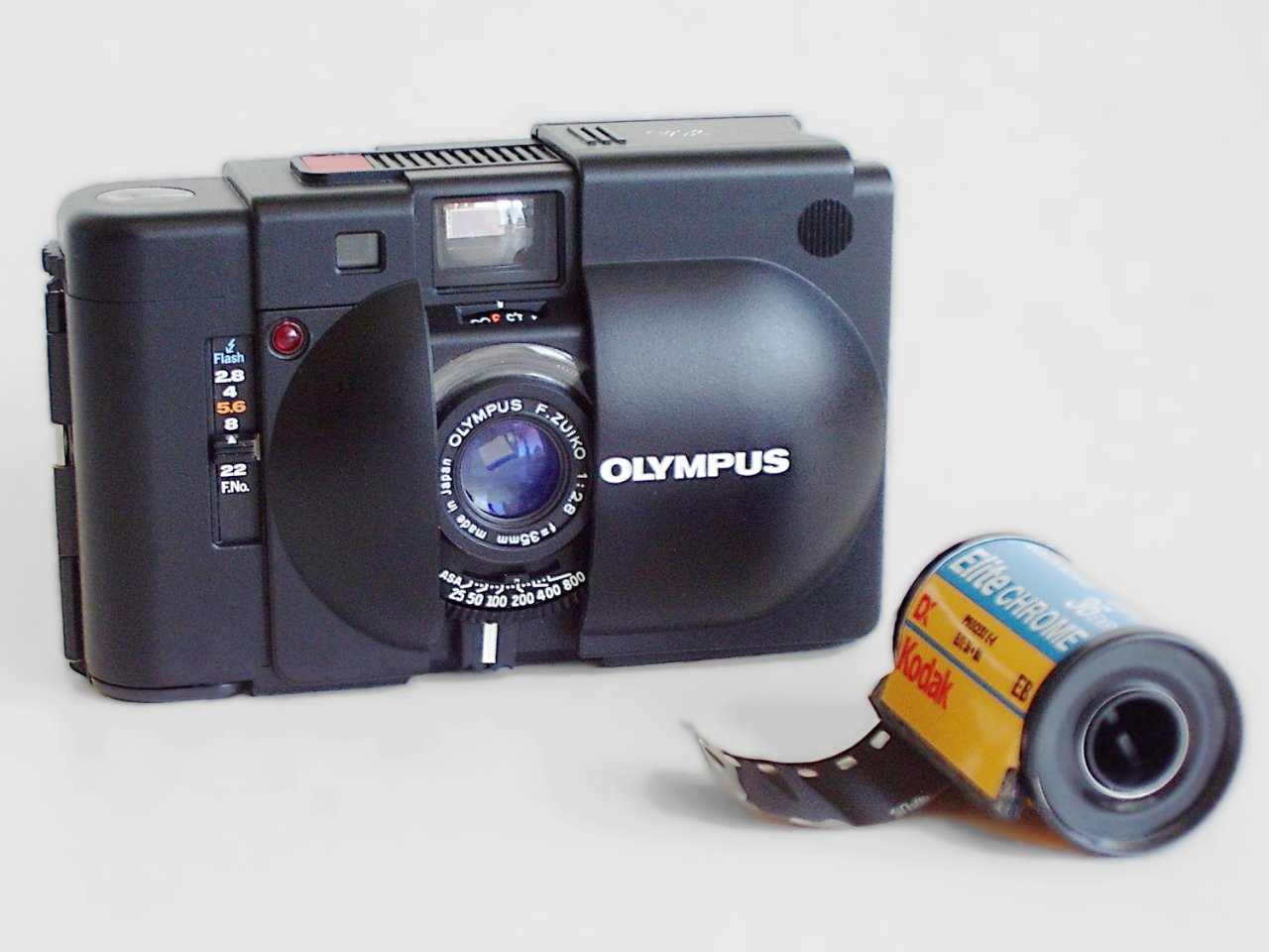 A photo of the Olympus XA film camera