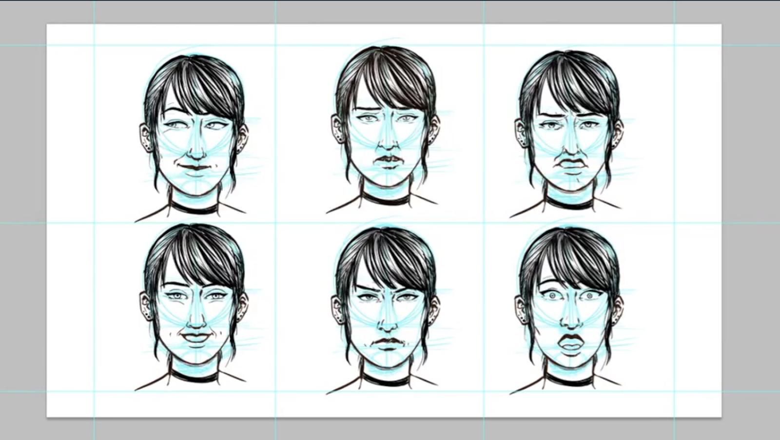6 emotion sketches