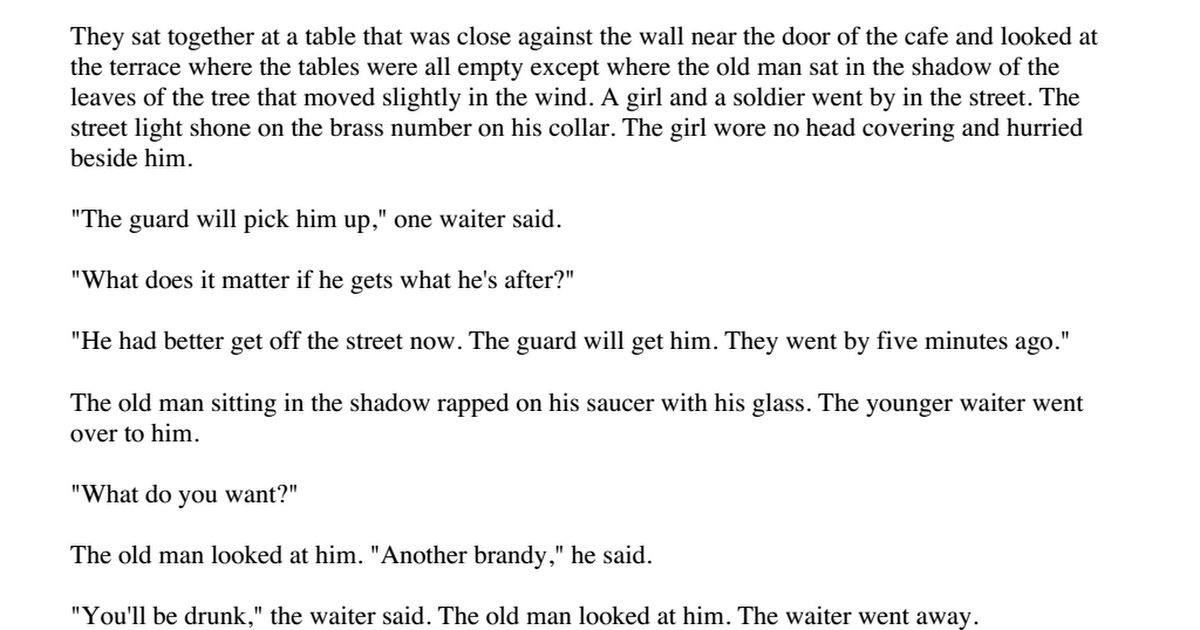 A Clean Well Lighted Place Hemingway Pdf Google Drive