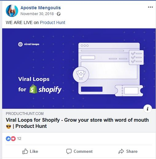 facebook post for product hunt